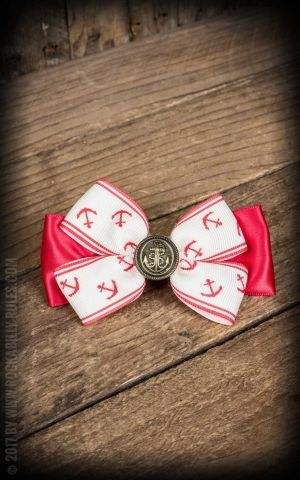 Bow HairClip anchor red
