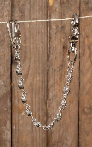 Keyring Rockabilly Flat Skull, silver plated