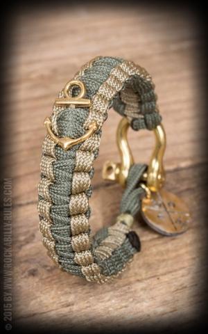 Dedicated O - Nautical Rope Bracelet - Anchor, olive