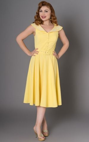Sheen Clothing Diner Kleid Freda mit Blumen, gelb