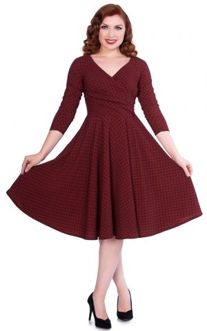 Sheen Clothing Swing Kleid Polkadot Katherine, burgund