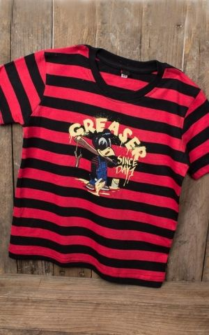 Rumble59 - Sling Shot Rebels - Striped Kids Shirt - Greaser since day 1 - red