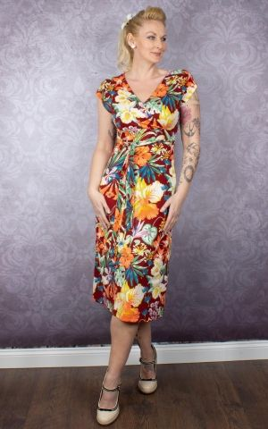 King Louie Summer Dress Flowers Avalon, Sandalwood