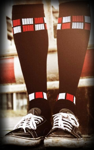 Hi Skater Socks - Tube Socks The Red White Mosaics