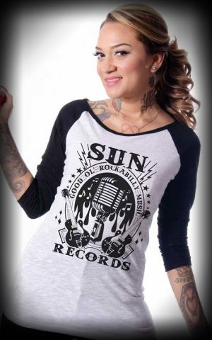 Steady - T-Shirt Femme Raglan Sun Records, 3/4 manches