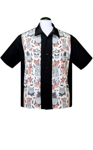 Steady Hemd - Skull Tiki Cocktail Panel Shirt