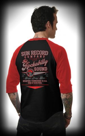 Steady - Mens Raglan Shirt Sun Records That Rockabilly Sound