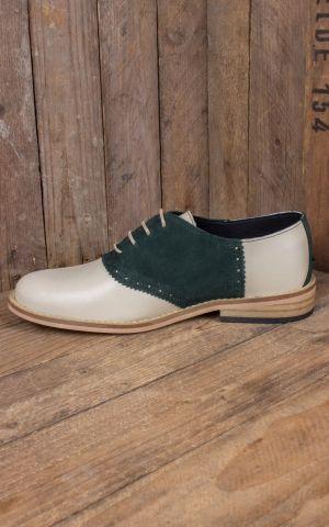 Steelground Chaussures Saddle, beige et suède vert