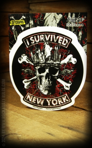 Aufkleber - Skull Totenkopf I Survived New York