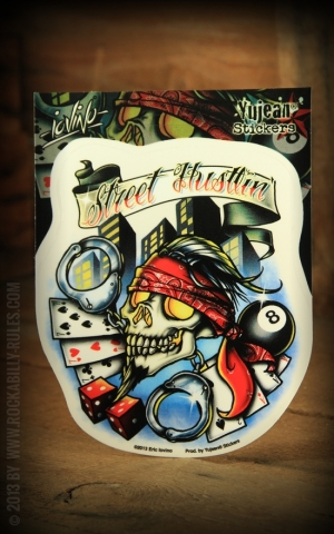 Sticker - Street Hustlin Tattoo skull