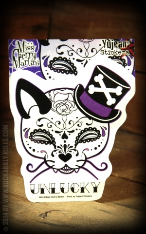 Aufkleber - Top Hat Kitty Sugar Skull