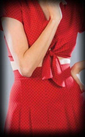 Stop Staring Set aus Bluse und Short, Polkadot rot schwarz