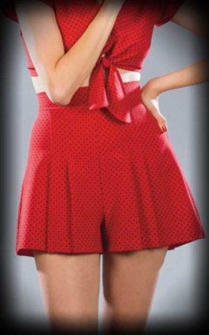 Stop Staring Set with blouse and short, Polkadot red black