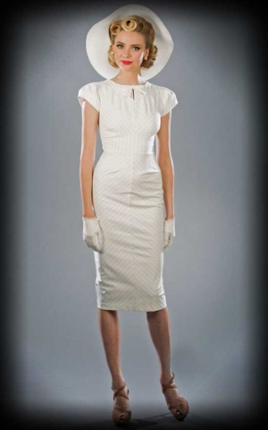 Stop Staring - Sommerkleid mit Schleife, elfenbein