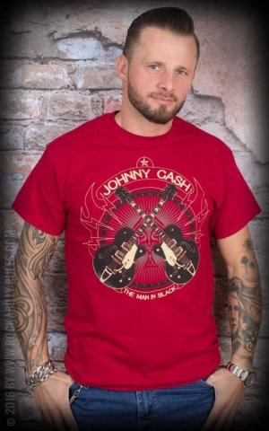 T-Shirt - Johnny Cash - Cross Guitars, red