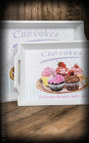 Tablett aus Holz - 2er Set - Cupcake