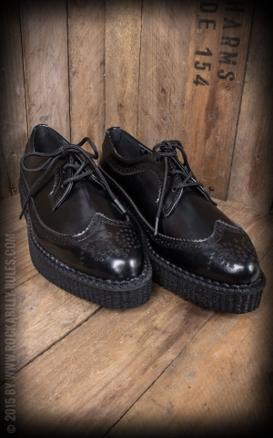 TUK Creeper Black Leather Wingtip Brogue Tie Pointed