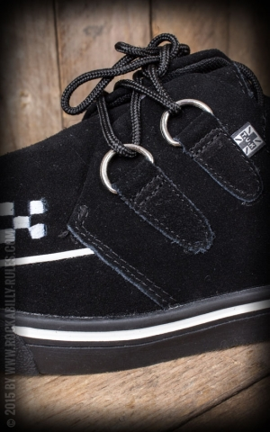 TUK Creeper Sneaker Black Suede White Trim