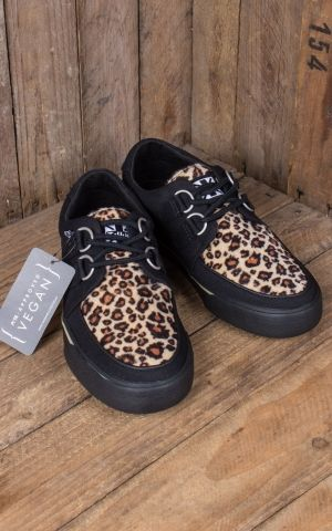 TUK VLK D Ring Creeper Sneaker, Black Leopard