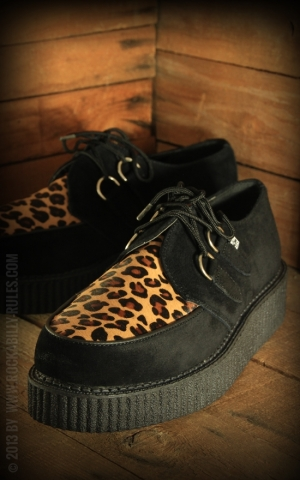 TUK Creeper - Black Suede & Leopard