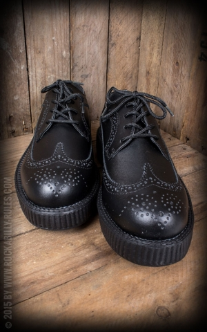 TUK Viva Low Creeper - Black Leather Wingtip Brogue