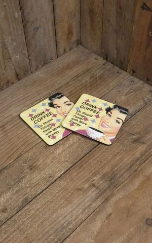Coasters Set of 2 - Drink coffee