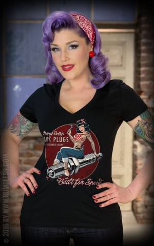 Rumble59 - Ladies V-Neck Shirt - Hotrod Betty's Spark Plugs