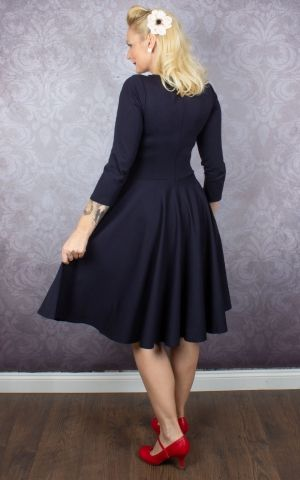 Very Cherry Ballerina Kleid mit 3/4 Ärmeln, navy