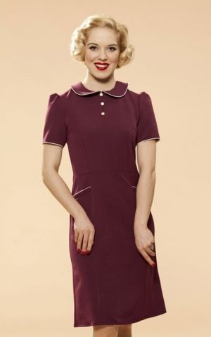 Very Cherry Classic Pan Collar Dress, purple