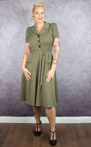 Very Cherry Kleid Revers Dress, olive