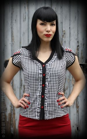 Rumble59 Ladies - Gingham Blouse CutenCheeky