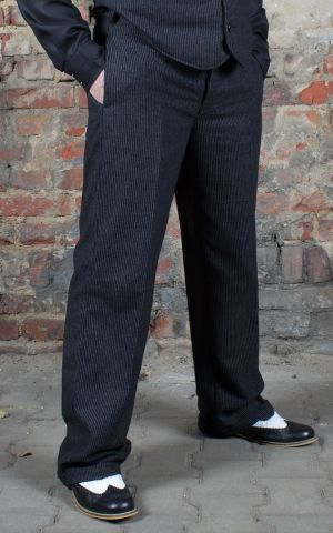 Rumble59 - Vintage Loose Fit Pants Sacramento - striped black/grey