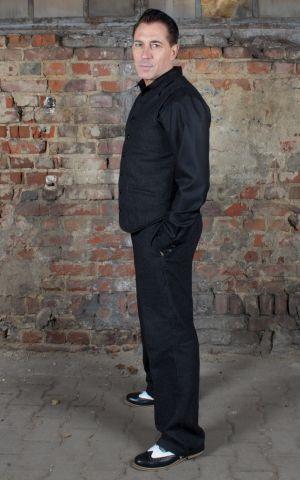 Rumble59 - Vintage Loose Fit Pants Sacramento - gestreift schwarz/grau