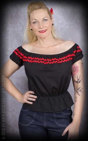 Vivien of Holloway - Carmenshirt Gypsy, black red