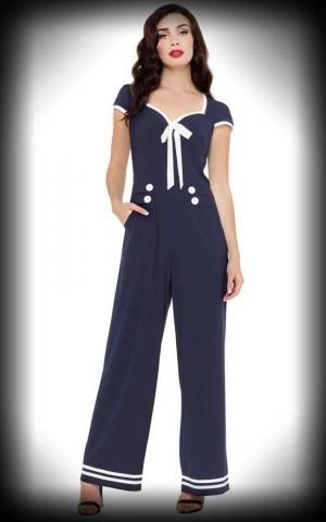 Voodoo Vixen Jumpsuit Overall - Jolene Sailor, navy