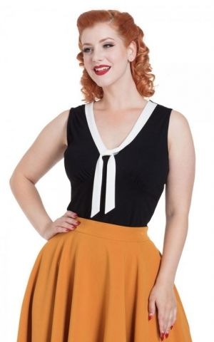 Voodoo Vixen Nellie Top With Contrast Tie