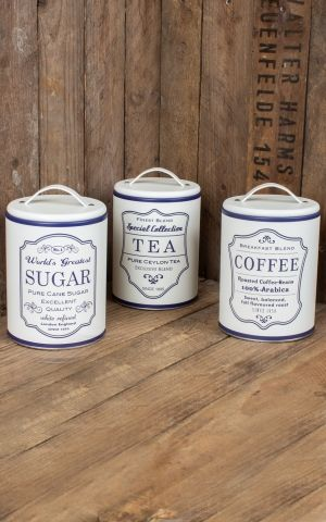Set of 3 storage cans Coffee, Tea and Sugar