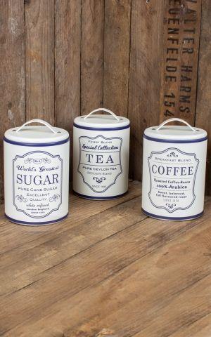 Set de 3 boîtes de conserve Café, thé et sucre