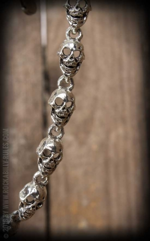 Wallet Chain - Flat Skull - silver plated